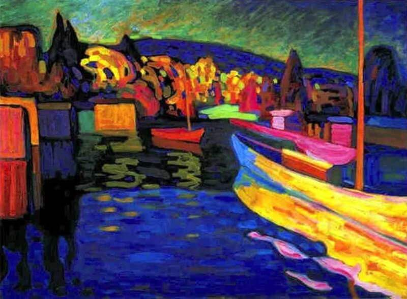 Autumn Landscape with Boats, 1908  by Wassily Kandinsky